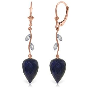 EARRING WITH DIAMONDS & DROP BRIOLETTE SAPPHIRES